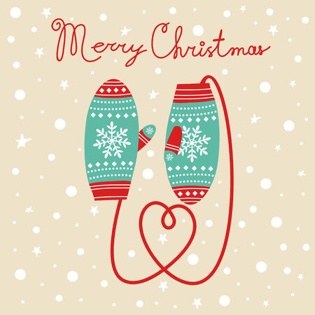 Christmas card with  knitted mittens Illustration