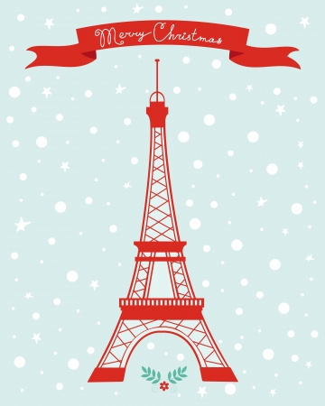 tower: Merry Christmas Paris greeting card Illustration