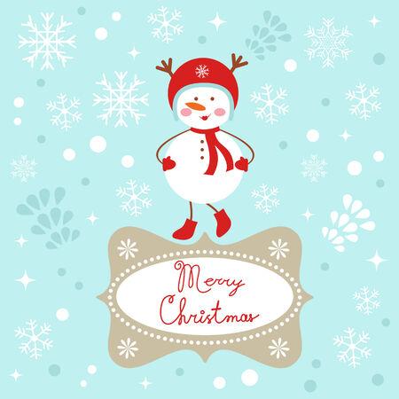 A Cute Snowgirl Christmas card Illustration