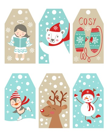 Christmas and new year gift tags collection Vector