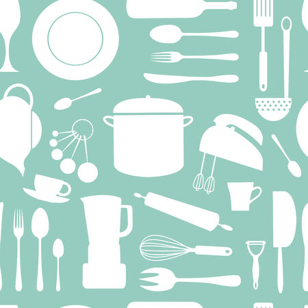 measuring spoons: Kitchen seamless pattern in two colors Illustration