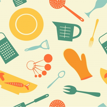 measuring spoon: Colorful kitchen background. Vector illustration