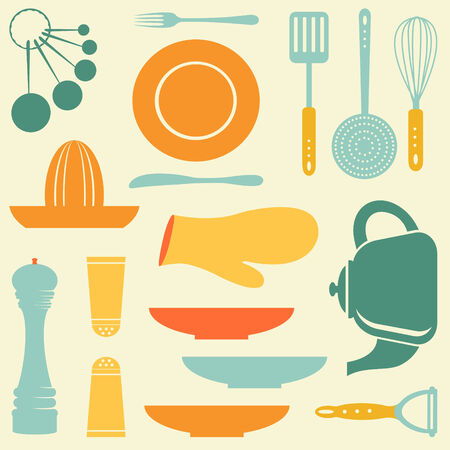 measuring spoon: A colorful retro kitchen collection
