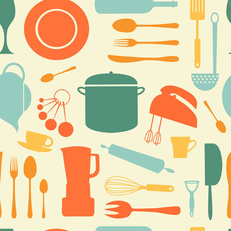 a stylish colorful kitchen background Vector