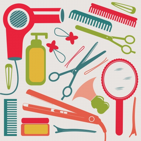 A colorful hairdressing equipment collection Vector