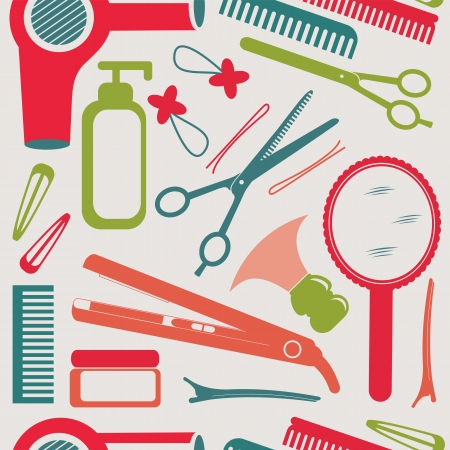 perfume atomizer: A colorful hairdressing accessories pattern Illustration