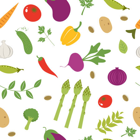 Colorful farm vegetables seamless pattern Vector
