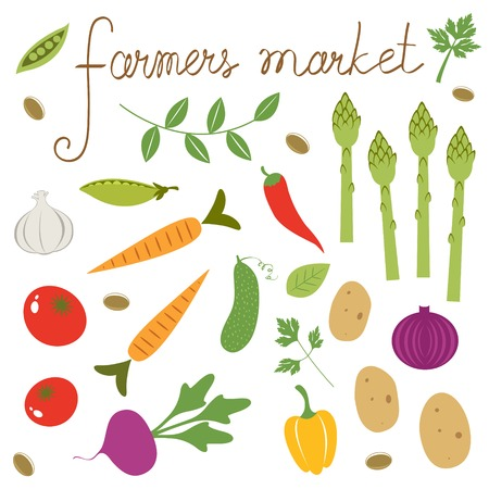 Farmers market set. Collection of fresh vegetables Vector