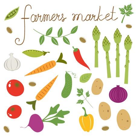farmers market: Farmers market set. Collection of fresh vegetables Illustration