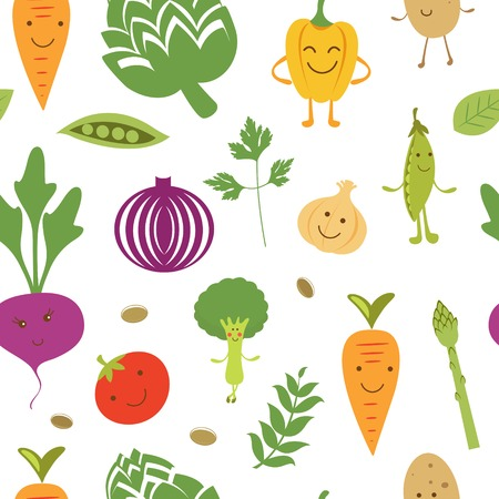 A fun vegetables seamless pattern Vector