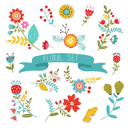 Beautiful collection of floral decorative elements