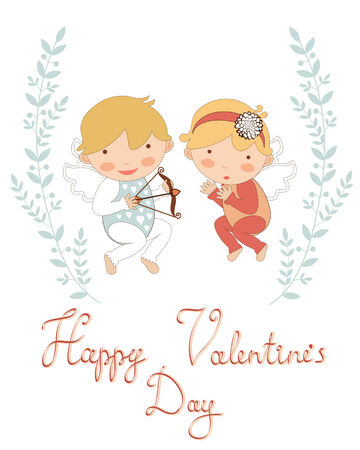 amur: Valentine`s day greeting card with  two little cupids Illustration