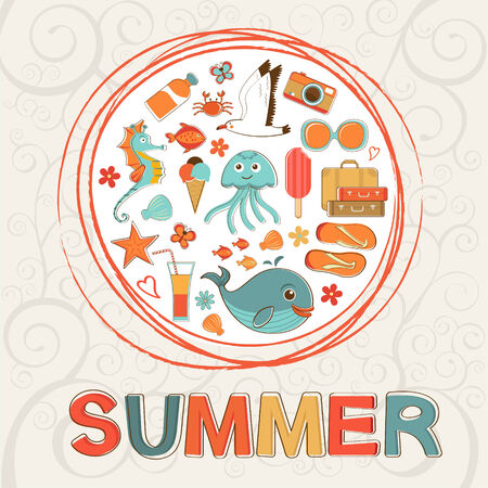 Concept colorful  round summer composition Vector