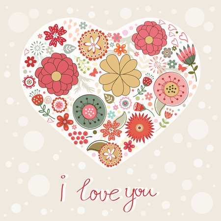Beautiful greeting card with floral heart Vector