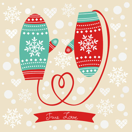 Valentines day love mittens with rope in a form of heart Vector