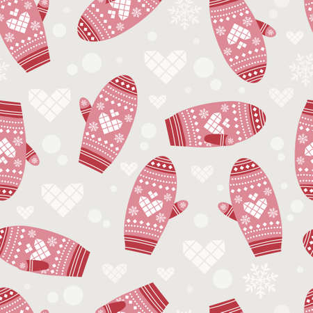 Seamless pattern with cute mittens Vector