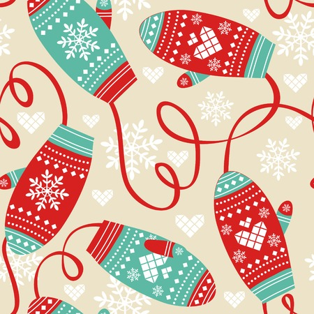 Colorful seamless pattern with cute mittens Vector