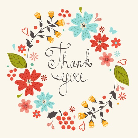 Beautiful thank you card with floral wreath Vector