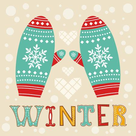 Illustration of beautiful winter mittens Vector