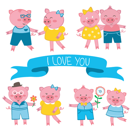 Cute pigs in love couples illustration Vector