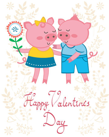 Valentine`s day card with pigs in love Vector