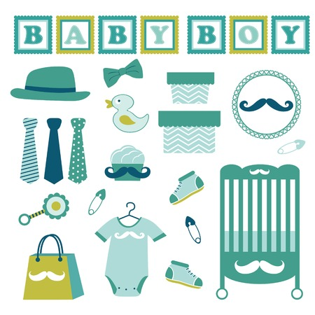 Cute colorful baby boy collection Vector