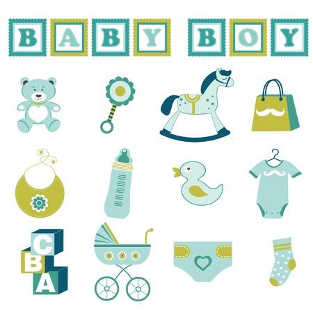 Bebé lindo elementos gráficos colección Ilustración de vector
