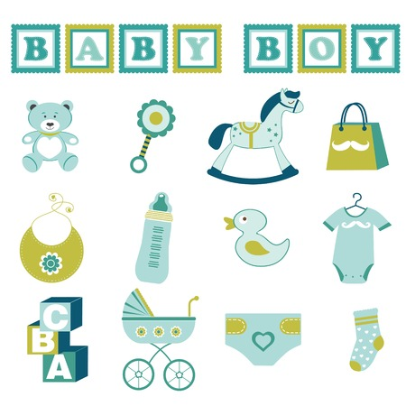 rocking horse: Cute baby boy  graphic elements collection Illustration