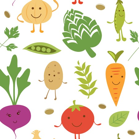 Funny vegetable characters colorful pattern Vector