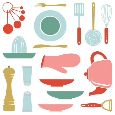utensilios de cocina: Colección de la cocina de colores aislados en blanco