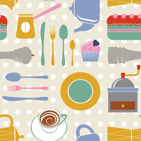 Kitchen colorful seamless pattern Vector