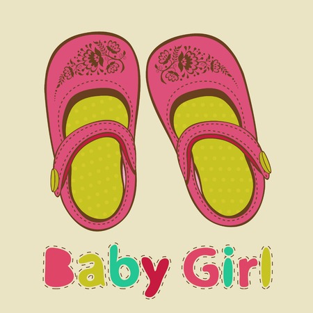 baby shoes: Illustration of colorful baby girl shoes Illustration