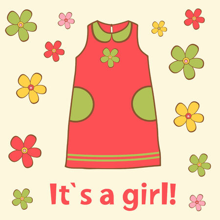 It`s a girl! New baby arrival announcement card Vector