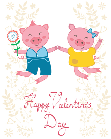 Valentine`s day card with happy jumping pigs couple Vector