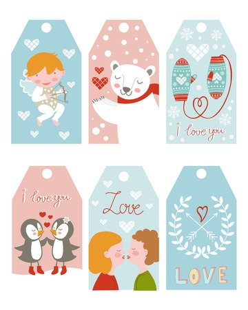 Valentine`s day girft tags collection Vector