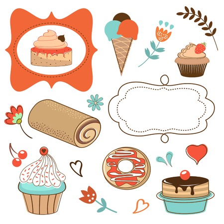 Colorful freshly baked desserts collecton Vector