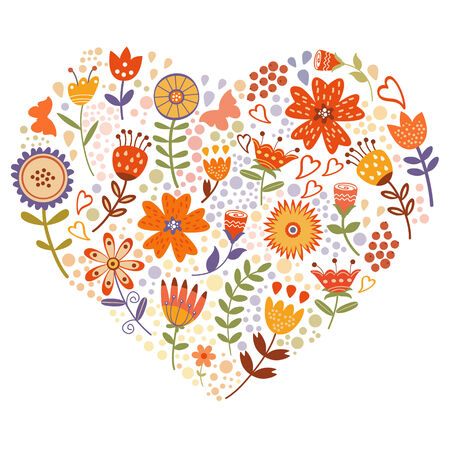 Elegant card with floral heart. Ideal for wedding invitations, Birthday cards, Valentine`s day cards Vector