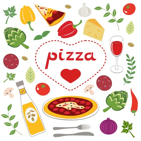 Colorful collection of pizza related graphic elements