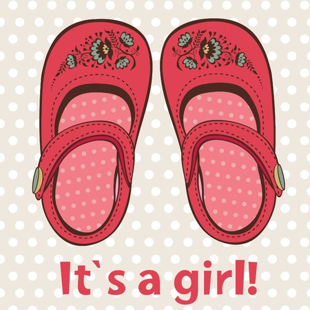 annoucement: New baby girl annoucement card with cutttle shoes