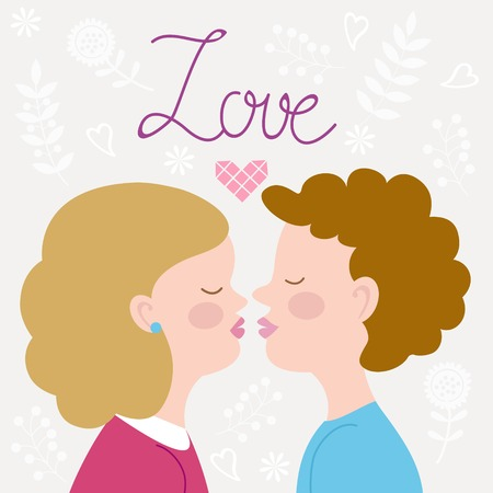 Illustration of children couple kissing Vector