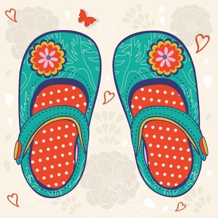 kleine meisjes: Illustratie van weinig meisje `s schoenen Stock Illustratie