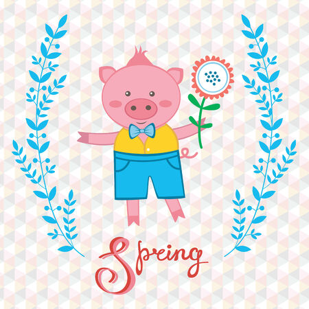 Cute spring pig holding flower Vector