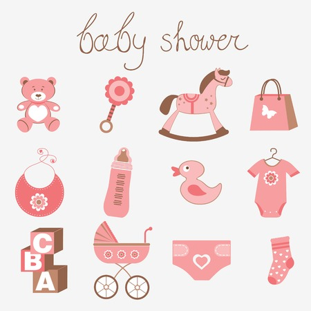 rocking horse: Cute baby shower girl collection Illustration
