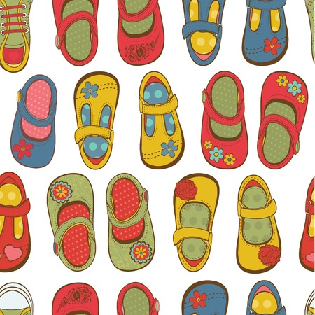 Little girl shoes seamless pattern Vector
