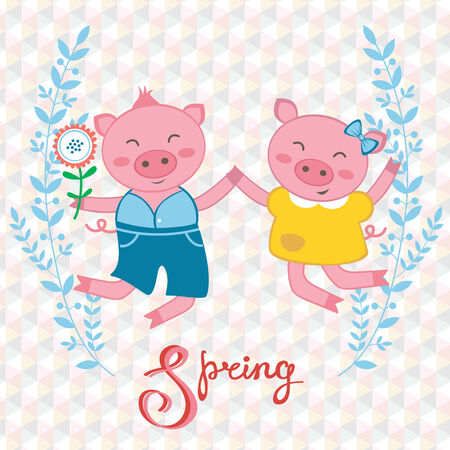 Illustration of happy pigs couple jumping Vector