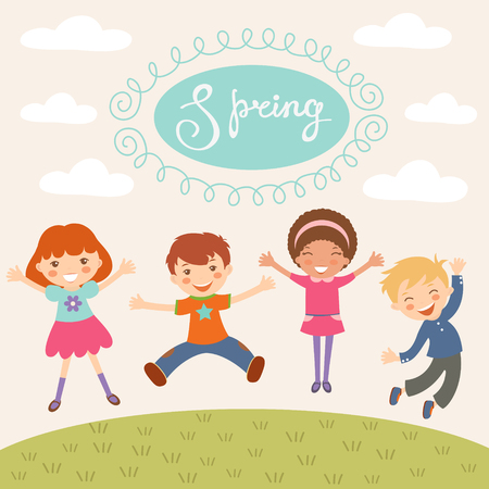 cartoon little girl: Illustration of kids jumping in spring