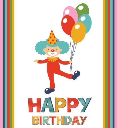 Birthday card with happy clown Vector