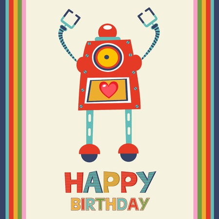 Birthday card with robot. vector format Vector