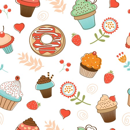 Colorful seamless desserts pattern. Vector format Vector