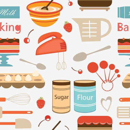 measuring spoons: Stylish colorful baking pattern. Vector illustration